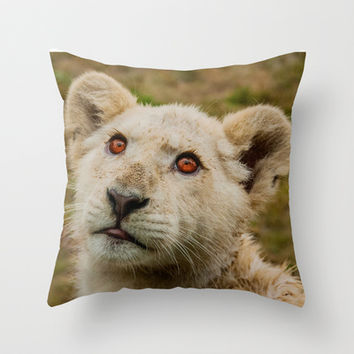 CUTE WHITE LION CUB Throw Pillow by catspaws