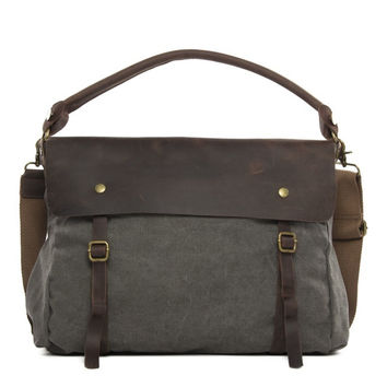 Vienna – Leather & Waxed Canvas Messenger Bag