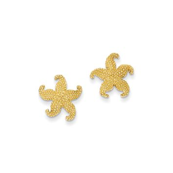 13mm Textured Starfish Post Earrings in 14k Yellow Gold