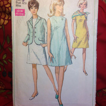 Dress and Jacket Pattern Simplicity 7641 Cut and Complete- Vintage 1960's