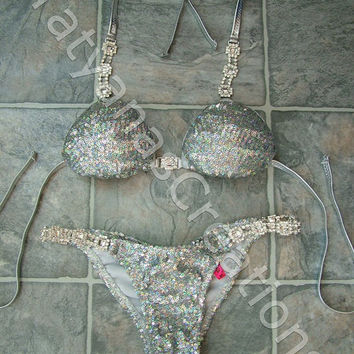 Ice Queen Holographic sequin Competition bikini Suit B -cup XS bottom.