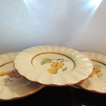 3 Stangl Golden Grape Pattern Plates with Scallops