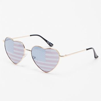 With Love From CA Americana Printed Metal Heart Sunglasses - Womens Sunglasses - Gold - One