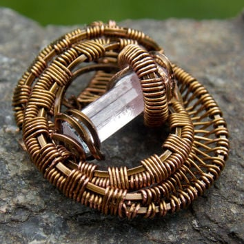 Small Heady Wire Wrapped Pendant with Pink Tourmaline Crystal // Copper Festival Jewelry