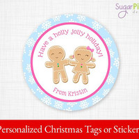 PRINTABLE Christmas Gingerbread tags, Christmas Stickers, Christmas Gift Tags, Christmas Treat Tags, Christmas Party Supplies 2.5 inch,