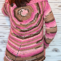 Crochet Cardigan, Knitted jacket, Autumn Spring Crochet cardigan, Multicolored, pink and brown