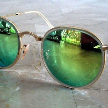 Gotopfashion Ray Ban RB3517 Round Folding Metal Gold frame Green Mirrored lens Authentic New