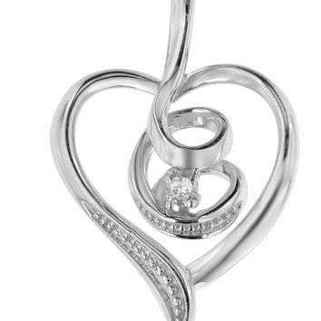Espira 10K White Gold .03 ct TDW Round-Cut Diamond Swirl Heart Pendant Necklace (I-J, I2-I3)