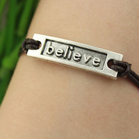 bracelet--believe bracelet,silver charm bracelet,brown leather bracelet,friendship gift