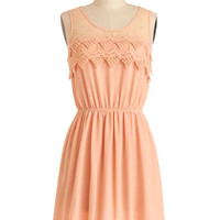 ModCloth Pastel Mid-length Tank top (2 thick straps) A-line Peach Julep Dress