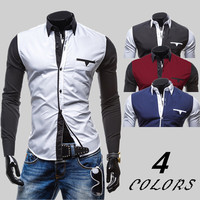 Color Contrast Men's Slim Shirt
