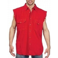 Mens Motorcycle Biker Shirt Red Cut Off Sleeveless Cotton Denim Button up