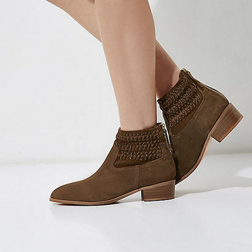 Brown suede woven boots - Boots - Shoes & Boots - women