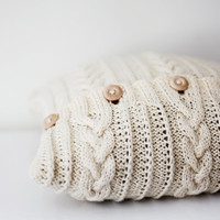 Knitted pillow - cable cushion cover hand knitted - milk white decorative pillows case - knit home decor 16x16   0184