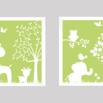 White on Green Enchanted Forest Animals CUSTOMIZE YOUR COLORS, 8x10 Prints, set of 2, nursery decor nursery print art baby room decor