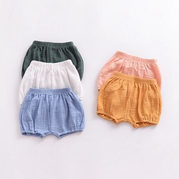 Summer Baby Chiffon Fashion Casual Large PP Shorts Infant Solid Color Cotton Linen Bloomers Toddler Girls Bread Pants Cloths