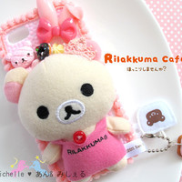 Korilakkuma Rilakkuma Relax bear Dessert Iphone5 Pink Decora Decoden Kawaii Fairykei Sweets Phone Case dangled with Donut