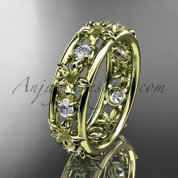 14kt yellow gold diamond leaf wedding ring, engagement ring, wedding band. ADLR160 nature inspired jewelry