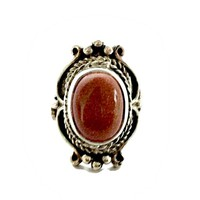 Large Sterling Silver Ring Southwestern with Burnt Orange Goldstone Hallmarked Size 11