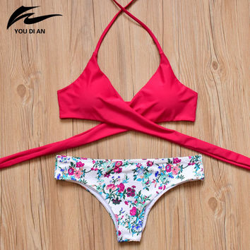 2017 New Arrival Bikini Sets Women Sexy Biquini Brazilian Cross Push Up Swinwear Padded Hot Sale Swimwear Bandage