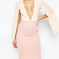 Rare London V Neck Midi Dress With Cape Sleeve