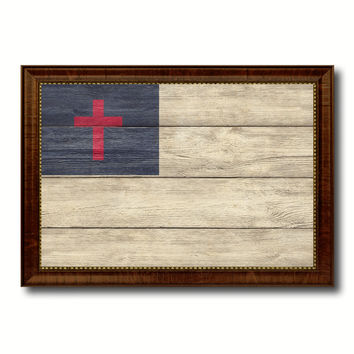 Kayso Christian Religious Military Flag Texture Canvas Print with Brown Picture Frame Home Decor Wall Art Gifts