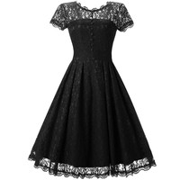Lace Short Sleeves Splicing Pleated Single Button Short Dress