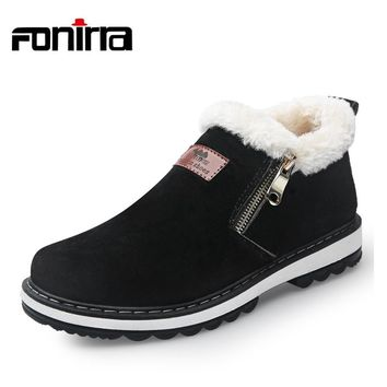 FONIRRA Lace-Up Men Fashion Boots Wear Resistant Handmade Ankle Boots Fur Winter Keep Warm Boots Zipper Men Casual Shoes 760