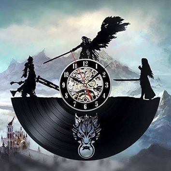 Final Fantasy 7 Adventure Anime PS PC Games Vinyl Record Wall Clock - Decorate your home with Modern Famous Final Fantasy Movie