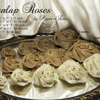 Large Burlap Roses for weddings, available in three colors: country, natural or ivory. Choose as many as you like.