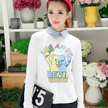 Cartoon Print Long Sleeve Pointed Flat Collar Sweater