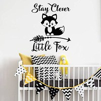 "Stay Clever Little Fox Wall Decals Animal Arrow Vinyl Stickers Nursery Baby Room Rustic Family Decor Bedroom Playroom NV222 (18"" Wide x 22"" Tall)"