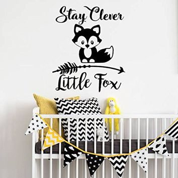 """Stay Clever Little Fox Wall Decals Animal Arrow Vinyl Stickers Nursery Baby Room Rustic Family Decor Bedroom Playroom NV222 (18"""" Wide x 22"""" Tall)"""