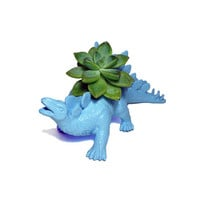 Up-cycled Light Blue Stegosaurus Dinosaur Planter