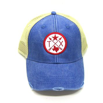 Texas Hat - Royal Blue Distressed Snapback Trucker Hat - Texas Star - Patched Arrow Compass Patch