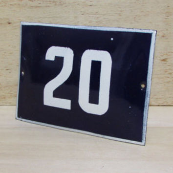 Vintage French Blue House Number, Door Number 20, Preservede French Enameled Sign Number 20, Street Sign Number 20, Blue Enamel Metal Plate