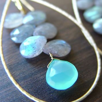 Labradorite Teardrop Gold Earrings