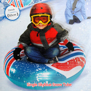 2 Colors Inflatable Sled & Snow Tubes for Kids Skiing Thickened Size Circle Snow Water Ski Sledge Tube Winter Outdoor Sport