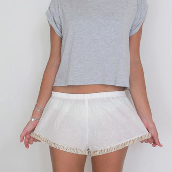 White Sea Shell Shorts - Beach Shorts with Embellishment - Ladies Fashion