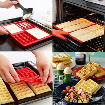 1Pcs Useful 4 Cavity Waffles Cake Chocolate Pan Silicone Mold Baking Mould Kitchen Tool for Home New = 5658091521