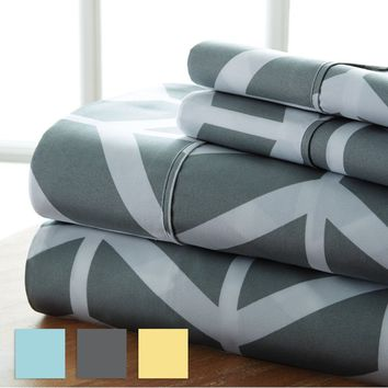 Home Collection  Premium Ultra Soft 4 Piece Arrow Bed Sheet Set - Multiple Colors - Fade Resistant - Luxurious - Beautiful Desig