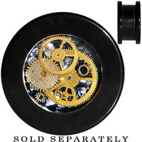 "5/8"" Black Acrylic Steampunk Pocket Watch Movement Plug 