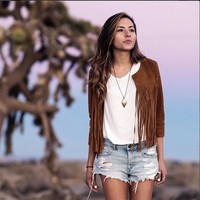 Brown Tassel Long sleeve outerwear