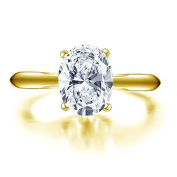 10k Solid Yellow Gold, Wedding Ring, 2 ct. Solitaire, Simulated Diamond, Engagement Ring
