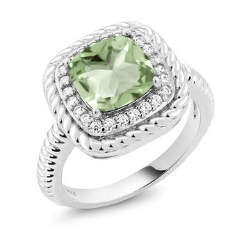 Natural Green Amethyst, Elegant Promise Ring, Sterling Silver ring, 2.05 Ct, Cushion cut