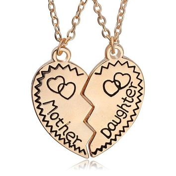 Fashion 2 colors half heat Mother Daughter Letter Necklace Family double Love Heart Pendant choker Necklace Jewelry
