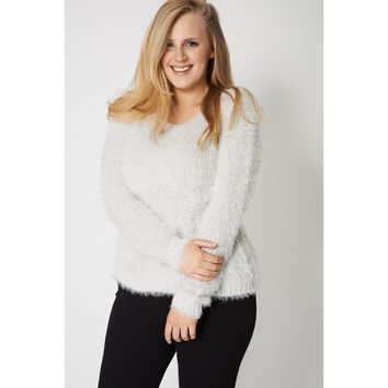 Fluffy Feel Knitted Grey Jumper Ex-Branded