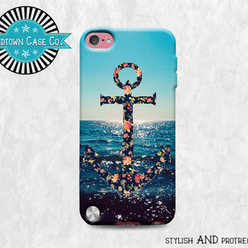 Floral Anchor Ocean Sunset iPod Touch 5th Gen Generation Rubber Case