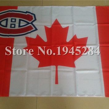 NHL Montreal Canadiens with Canada Maple Leaf Flag New 3x5ft 90X150cm Polyester Flag  Banner, free shipping