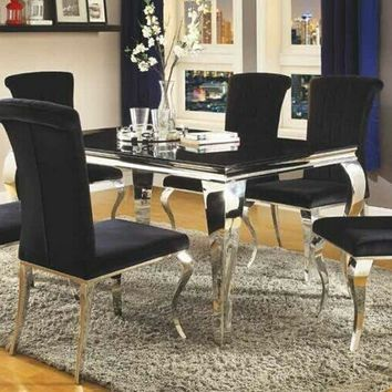 7 pc Carone collection chrome metal base dining table set with black glass top